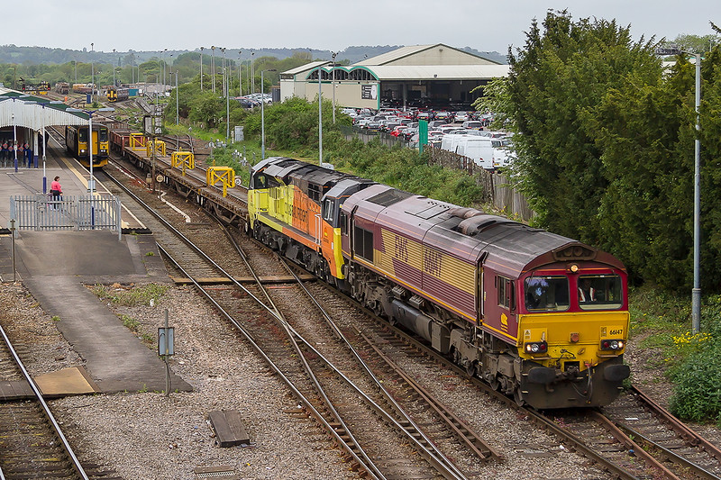 10th May 2015:  66147 brings 70803 and the departmental from Dolphin Junction back to the spur.  The Shunter can be seen in the far distance to direct the wagons to the correct sidings when they are pushed back.