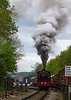 4th May 2015:  Making a spirited  start away from Bitton on the Avon Vallet Railway is a Hunslet Austerity 0-6-0 Saddle Tank  actuallly built by Barclay in 1945 as works number2183.  Currentlu painted in the colours of he Wemyss Bay Railway No 15