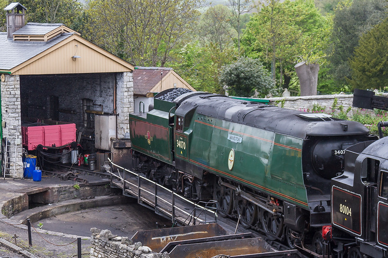 8th May 2015:  Un rebuilt Battle of Britain Pacific 34070 'Manston' sands outside the verey small shed at Swanage