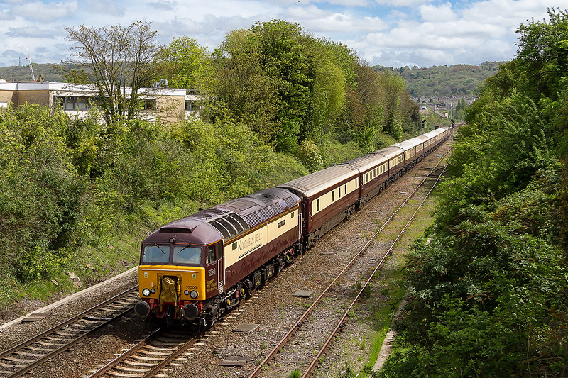 4th May 2015:  57305 is heading the ECS  of the 'Northern Belle' from Victoria to Bath Spa though Oldfield Park in Bath.  5Z10 with 57312 at the rear is going to Bedminster