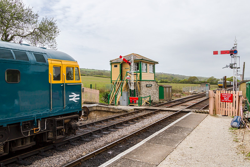 8th May 2015;  Slim Jim Crompton 33201 waiting at Harmans Cross for the RA to head to Nordern.  Ooops I should have moved my Camera bag and walking stick first !