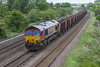 20th May 20125:  With the light getting worse 66120 working 6T26 brings another rake of loaded iron ore tipplers for Stanton towards Knabbs Bridge