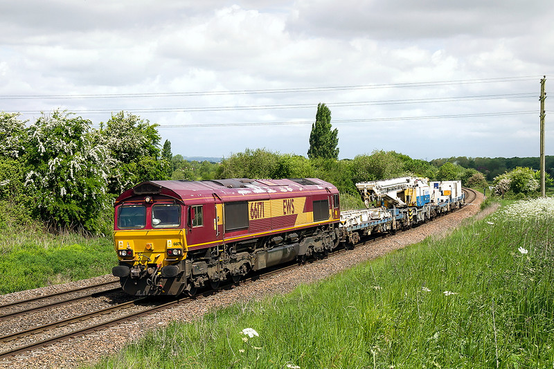 25th MAy 2015:  Nearing Hawkeridge Junction is 66171 and a Kirow Crane forming 6W08 from Rumney River Bridge Junction to Westbury