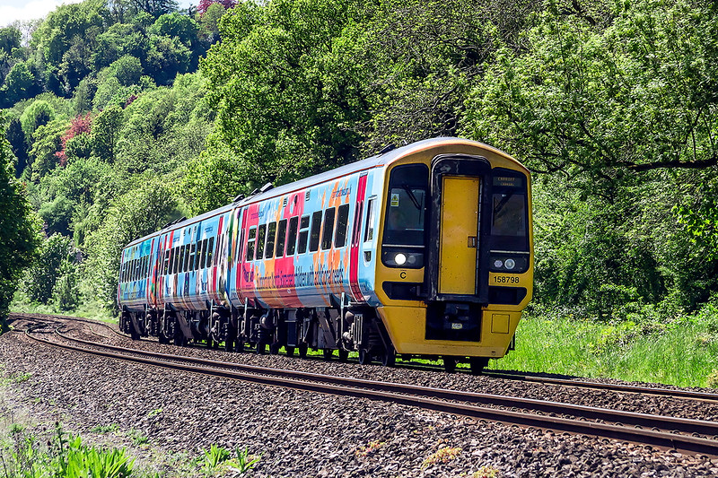 13th May 2015:  FGW 158798 now branded 'Supporting North Somerset Children with Additional Neads' is working 1V94 the 08.59 from Brighton to Great Malvern.  The location is Limpley Stoke