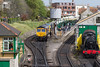 8th May 2015:  My only sunny shot odf the day.  66741 and 66201 wait to depart from Swanage