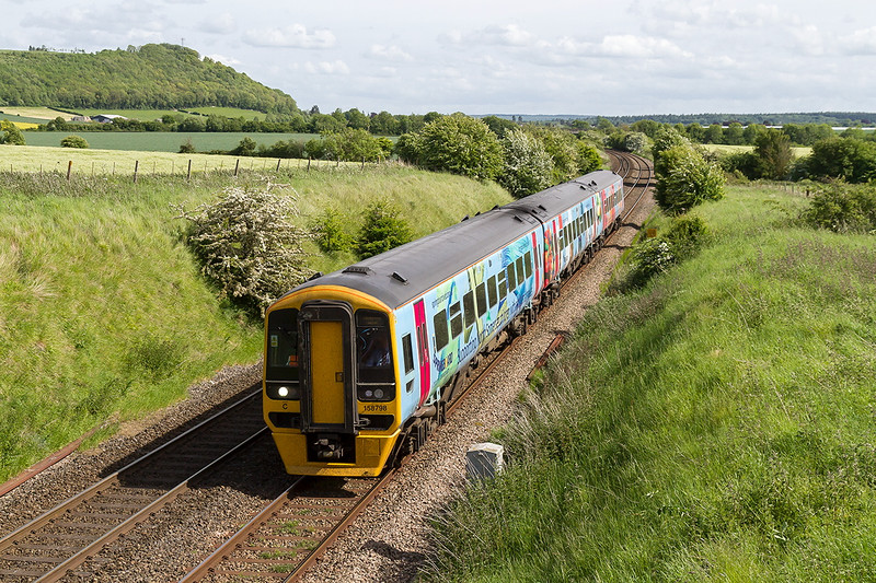28th May 2015:  158798 at the top of the down grade through Upton Scudamore with the 14.23 from Portsmouth Harbour to Cardiff