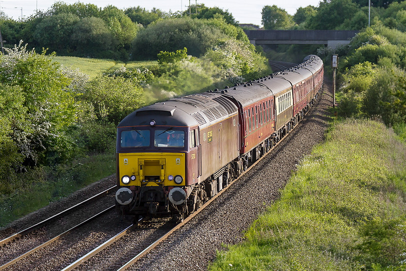 28th May 2015:  Returning to Victoria from Minehead on the West Somerset Railway is 57313 with 57315 on the tail.  The location is Berkley Marsh about a mile east of Clink Road Junction