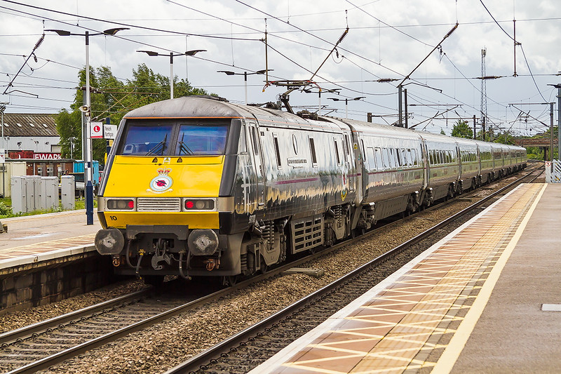 19th May 2015:  The 10.25 from Newcastle to Kings Cross departs from Newark Northgate with 91110 in Battle of Britain memorial livery providing the urge
