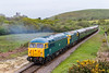 8th May 2015:  Climbing away from Corfe is 56006 with 33201 inside.  Bayer Peacock Hymek D 7076 and  EE Classs 3  D6757 ware at the rear