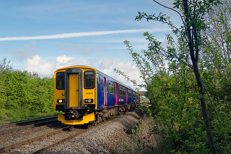 4th May 2015:  150219 at Heywood working 2C08 the 07.49 from Bristol Temple meads to Westbury
