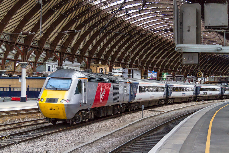 16th May 2015:  43299 on the rear of a southbound service entering York Station Platform 5