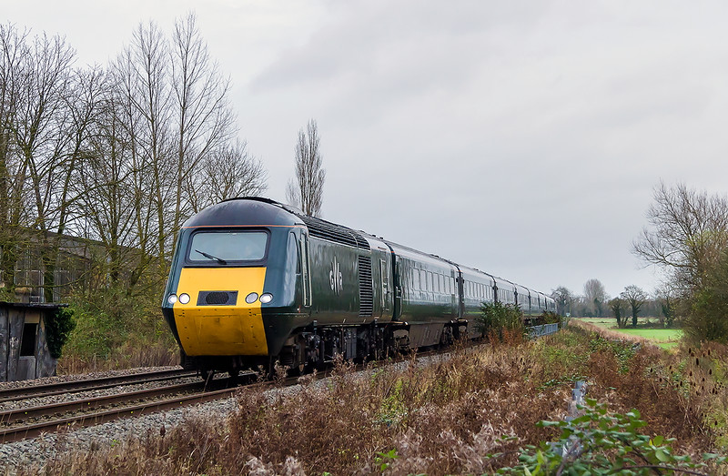 24th Nov 2015:  Nearing Heywood Road Junction is 43188 leading on 1C83 the 13.05 Paddington to Plymouth.  With nothing else to do I decided to explore the path along side the Cement Works.  It is overgrown, muddy and very wet and the embankment is covered in teasels.  I knew the Dagenham was running  but this was a surprise.  Not sure if I shall go there again though.