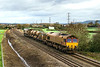 25th Nov 2015:  Blending in well with it's surrounding are 66061 & 66067 as the run towards Pot Lane bridge in Berkley.  3J13 RHTT turn is from Westbury to Par including and out and back frip to Salisbury.  Visible on the left is the newlly cleared draiage ditch.  On summer evenings this will again provide a good shot.