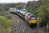 16th Nov 2015:  Coming off te East Chord at Hawkeridge Junction  are 67022 TnT 67014 on 3J43 the Didcot based RHTT on the last leg of this tunn back to Didcot via the line through Melksham
