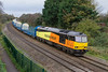 10th Nov 2015: The day brightened when there was a message that 6Z60 would be running  from Eastleigh Arlington (ZG) to Cardiff Canton Sidings and that Colas 60047  would be on the point with 8 wagons on tow.  There was concern when nothing happened but it eventually left 192 minues late ...Phew !!!  The wagons were log carriers and the train is pictured at Ladydown near Bradford Junction