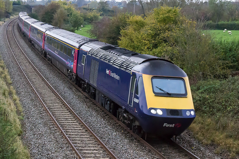 4th Nov 2015:  43069 and 43182 are forming 1A85 the 12.56 from Plymouth to Paddington at Great Cheverell.  Only taken  to see if the  result would be useable,  The train was doing about 90mph and the shot settings were 1/800 @ f4.5 iso 6400.  Only proves that for a rare working it will be worth the effort to try and get the shot even if the conditions are crap