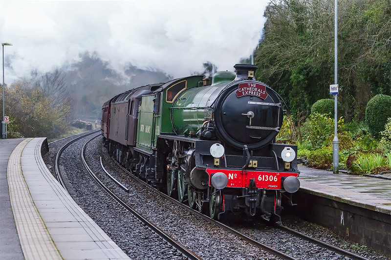 29th Nov 2015:  On a particularly foul day LNER B1  61306 charges through Freshford with the days Cathedrals Express to Bath and Bristol. It was running about 30 minutes late firstly because the level crossing gates in Hungerford had a problem causing a delay  which  meant that 1Z70 had to wait at Hawkeridge and then follow a stopper. 47746 is tucked inside.  iso 3200 again!