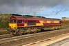 13th Nov 2015:  66232 at rest at Westbury.  Having taken the shot I walked as fast as I am able  back to the staion conopy for shelter  but in fact got very wet in a viol;ent storm