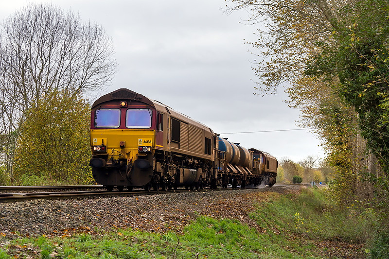 9th Nov 12015:  3J13 works to Par from Westbury but starts with an out and back to Salisbury.  66138 & 66061 are headinf back to Westbury and are nearing the crossing on Sherrington Lane