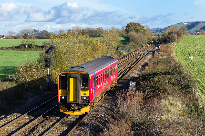 20th Nov 2015:  My first propper sunny landscape shot of the month shows 153325 ib Citizan Rail livery.  2M09 is the 12.47 ffrom Swindon to Frome at Fairwood