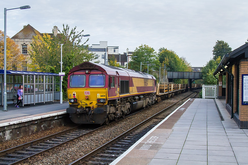11th Oct 2015:  DB stickered 66134 on the tail of 6W97 returning through Trowbridge to Westbury from Bridgend