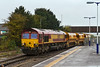 29th Oct 2015:  On a horrible wet morning 6W60 in the hands of 66172  arrives ar Westrbury from Aberthaw with a single set od Autobalasters in tow.  It ran round and shunted them back into the Up Yard