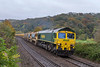 30th Oct 2015: 6C73 in the hands of 66523 from Westbury to Fairwater yard in Taunton is tdau routed to go through Bristol.  This is done so that the order of the set is reversed,  Pictured here  as it runs through Freshford.