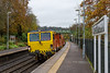 30th Oct 2015:  Colas Tamper DR 73907 leaaning to the curve through Freshford as it travels from  Maindee Depot Ise to Westbury DMU Sidings