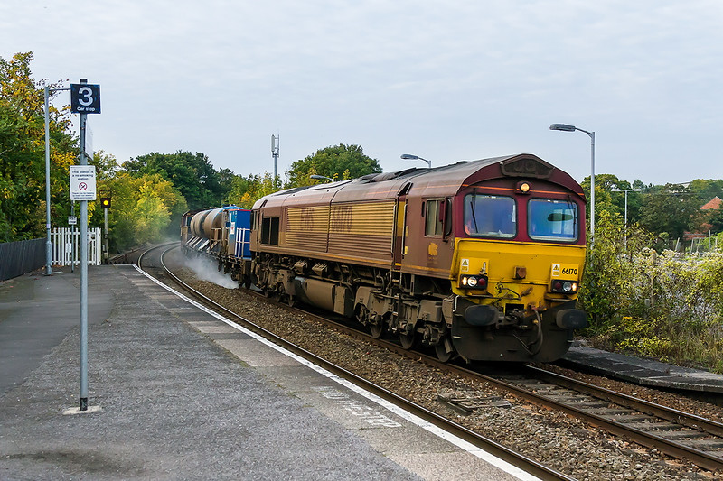 11th Oct 2015:  Hissing thorough Trowbridge are 66170 & 66119 working 3P50 from Bristol Barton Hill to Bristol Barton Hill via Westbury and then a large part of South Wales.  iso 1600 had to be used so thank goodness for Digital Cameras.