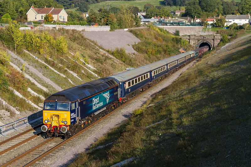 2nd Oct 2015:  At this point the 14.35 Ruggex from Paddington to Cardiff is running 3 minutes early.  57310 'Pride of Cumbria' is on the point and 57306 on the tail.    The location id Chipping Sodbury