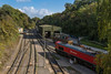 13th Oct 2015:  Looking down from the road bridge onto the MTL sidings at Whatley Quary.  The loco is 59206