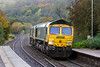 30th Oct 2015:  Cruising through Freshford are 66952 & 66562 running from Eastleigh to Stoke Gifford.  This loco move happenss regularly after their use on overnight departmental tasks