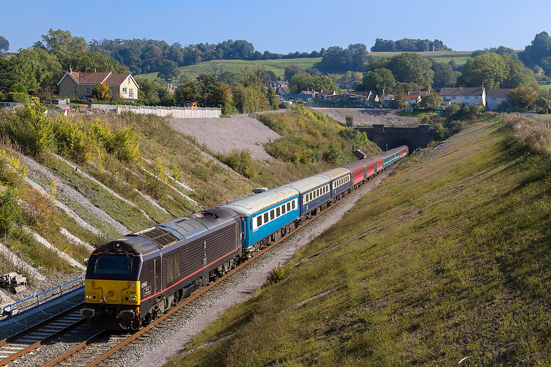 2nd Oct 2015: The first of the day's Rugby specials taking fans to Cardiff for the New Zealand  v Gorgia match has  Royalty on the front.  67006 'Royal Sovreign' has 67023 as tail gunner, captured as they race through Chipping Sodbury