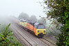 19th Sep 2015:  Emerging from the mist at Berkely is 6C25 powered by 70809.  Starting from Westbury their destination is Par.  Track work is being undertaken at Largin
