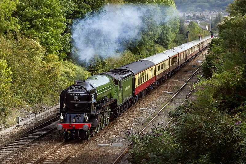 23rd Sep 2015:  With Clan Line still undergoing it's overhaul   LNER A1 Pacific 60163'Tornado' is again tasked with the Belmond Britsh Pullman from Victoria to Bristol Temple Meads.  In hazy sunshine the ensemble is  pictured at Oldfield Park in Bath.