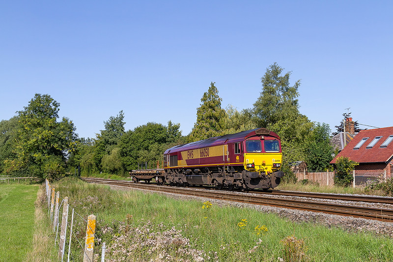7th Sep 2015:  Anoyingly with only one wagon in tow 66050 trots through Wylye with 6O41 the morning Departmrntal to Eastligh from Westbury