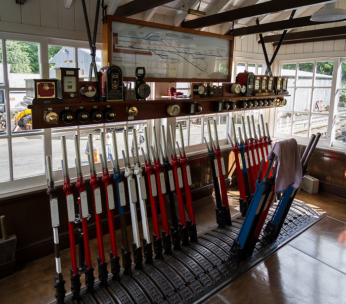 8th Sep 2015:  The Frame in Bodming General Signal Box.  The original box and the loco shed were demolished by Network Rail after their use was not neaded so this is an accurate reconstruction of the original