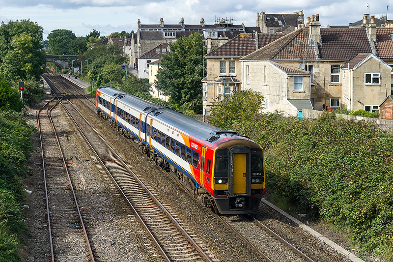 23rd Sep 20156: The South West Trains service from Bristol Temple Meads to Waterloo puus away from Oldfield Park in Bath,  1O45 in in the hands of 159014 started the journey at 12.59 and will get to Waterloo at  14.08