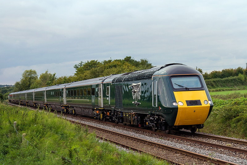 20th Sep 2015:  43187 is the leading power car on 5Z20 from Laira to Paddington.  Set LA15 with power cars 43187 & 43188 has been repainted ito the GWR  livery to coincide with the launch of the new First Group  GWR franchise that starts  om Monday morning..  Pictured on the Westbury avoider