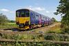 7th Sep 2015:   10.42 from Gloucester to Weymouth in the charge of 150106 at Masters Crossing in Fairwood