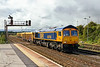 14th Sep 2015:  66766 crawls out from the sidings at Westbury with 6M40  empties to Stud Farm in Leicestershire