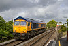 24th Sep 2015:  My first picture of 66768 almost in the sun as it works 0V40 from Eastleigh to Westbury from where it will continue to Stud Farm as 6M40