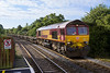 2nd Sep 2015:  Trundling down the grade through Dilton Marsh is 66017 working 6Z08  from Marchwood to Warminster MOD Sidings with 20 Warwells in tow.  It will reverse at Westbury and return to gain access to the sidings