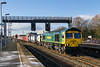 15th Jan 2016:  Slowing for a pathiing stop at Swindon is 66589 in charge of 4O70 from Cardiff Wentloog to Southampton
