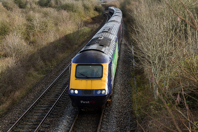 14th Jan 2016:  Pictured on the Westbury 'New Line  AKA 'Cut Of'f' or 'Avoider' is 43012 in the lead on 1C77  the 10.06 from Paddington to Penzance.  Unfortunately it is not possible to atand any further to the right for this shot due to TREES.