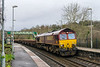 10th Jan 2016:  Hauling a long rake of loaded MHA & MTAs through Freshford is 66016.  The train is running as 6W05 from Radyr to Westbury.   When I arrived at the station it was full sun but...............