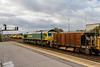 12th Jan 2016:  About to depart from Westbury to Fairwater Yard in Taunton is 6C73  powered by 66550.  The service is to return the HOBC after the wagons have been refilled.  In recent weeks a Seacow hopper has been included in the rake along with a JNA, Some times two of each.  Today it is  DB 9880156 which the builders plate indicates was built at Ashford in 1981.