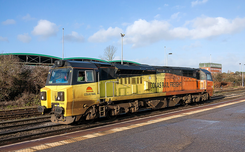 22nd Jan 2016:  The driver's Green jumper is the giveaway as he sits in the cab of Colas 70806.  The loco has been hired by Freightliner and he is about to drive it to Soouthampton Maritme depot