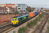 13th Jan 2016:  66516 on the point of 4O14 the 05.35 from Garston to Southampton is pictured from the Campbell Road bridge in Eastleigh