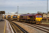 13th Jan 2016:  66169 draws Auto Ballasters out from the yard and is taking them to be refilled at the Virtual Quarry